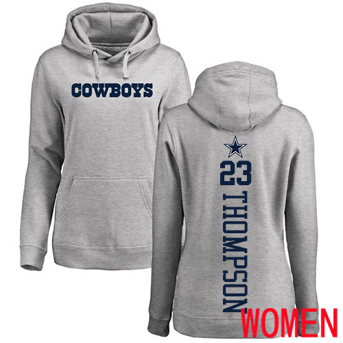 Women Dallas Cowboys Ash Darian Thompson Backer 23 Pullover NFL Hoodie Sweatshirts