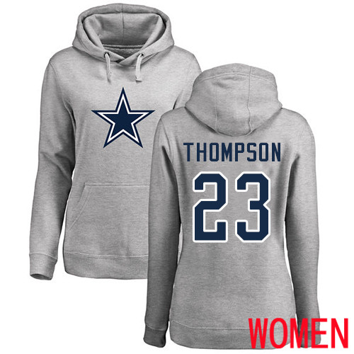 Women Dallas Cowboys Ash Darian Thompson Name and Number Logo 23 Pullover NFL Hoodie Sweatshirts