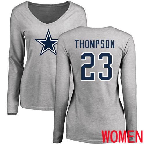 Women Dallas Cowboys Ash Darian Thompson Name and Number Logo Slim Fit 23 Long Sleeve Nike NFL T Shirt