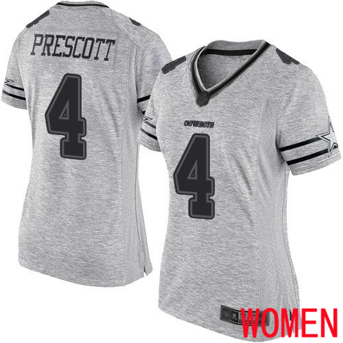 Women Dallas Cowboys Limited Gray Dak Prescott 4 Gridiron II NFL Jersey