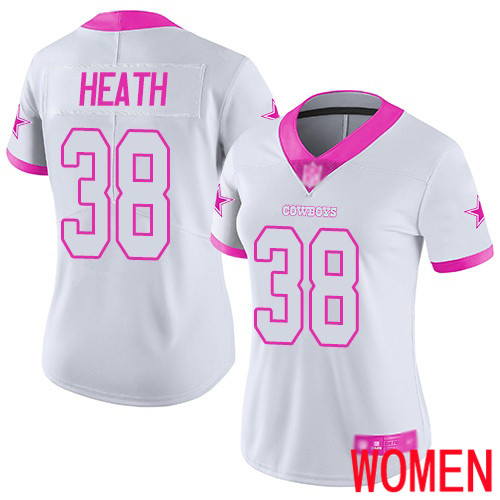 Women Dallas Cowboys Limited White Pink Jeff Heath 38 Rush Fashion NFL Jersey
