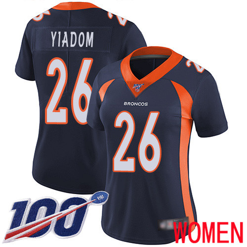 Wholesale Women Denver Broncos 26 Isaac Yiadom Navy Blue Alternate Vapor Untouchable Limited Player 100th Season Football NFL Jersey