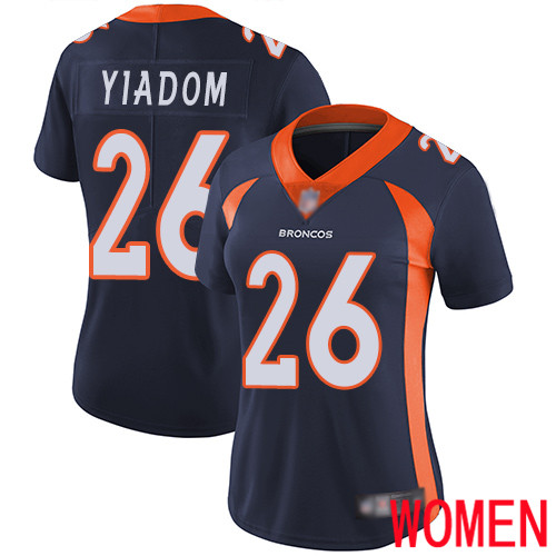 Wholesale Women Denver Broncos 26 Isaac Yiadom Navy Blue Alternate Vapor Untouchable Limited Player Football NFL Jersey