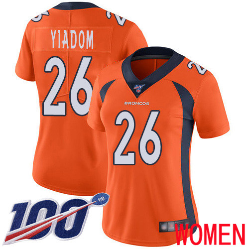 Wholesale Women Denver Broncos 26 Isaac Yiadom Orange Team Color Vapor Untouchable Limited Player 100th Season Football NFL Jersey