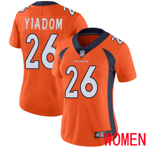 Wholesale Women Denver Broncos 26 Isaac Yiadom Orange Team Color Vapor Untouchable Limited Player Football NFL Jersey