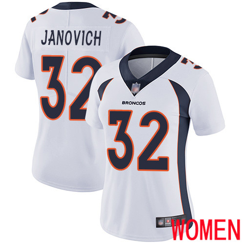 Women Denver Broncos 32 Andy Janovich White Vapor Untouchable Limited Player Football NFL Jersey