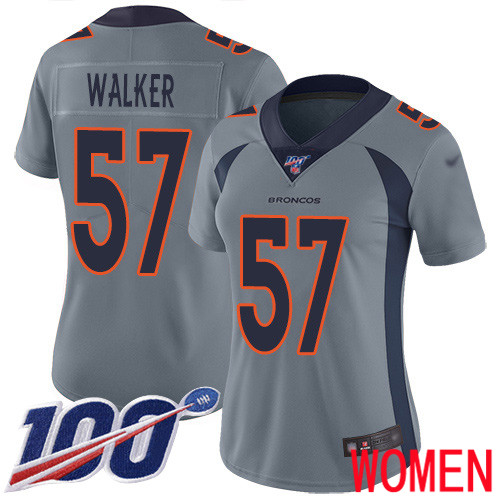 Women Denver Broncos 57 Demarcus Walker Limited Silver Inverted Legend 100th Season Football NFL Jersey