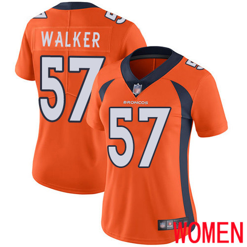 Women Denver Broncos 57 Demarcus Walker Orange Team Color Vapor Untouchable Limited Player Football NFL Jersey