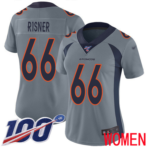 Women Denver Broncos 66 Dalton Risner Limited Silver Inverted Legend 100th Season Football NFL Jersey