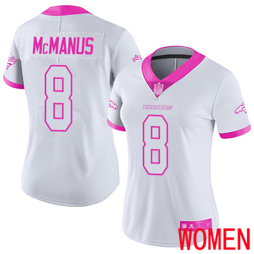 Women Denver Broncos 8 Brandon McManus Limited White Pink Rush Fashion Football NFL Jersey
