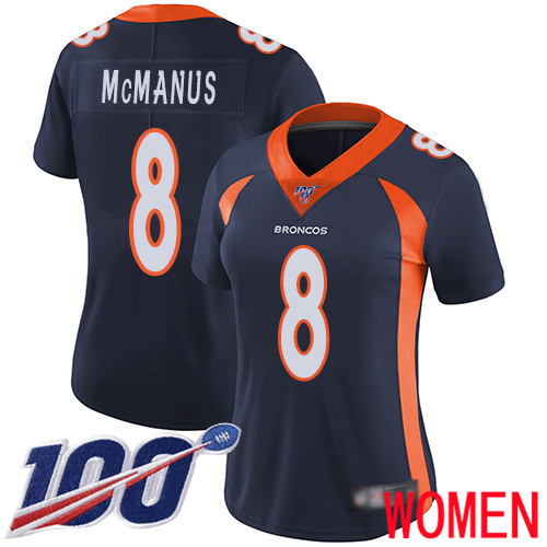 Women Denver Broncos 8 Brandon McManus Navy Blue Alternate Vapor Untouchable Limited Player 100th Season Football NFL Jersey