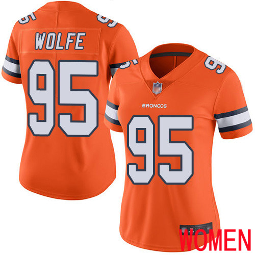 Women Denver Broncos 95 Derek Wolfe Limited Orange Rush Vapor Untouchable Football NFL Jersey