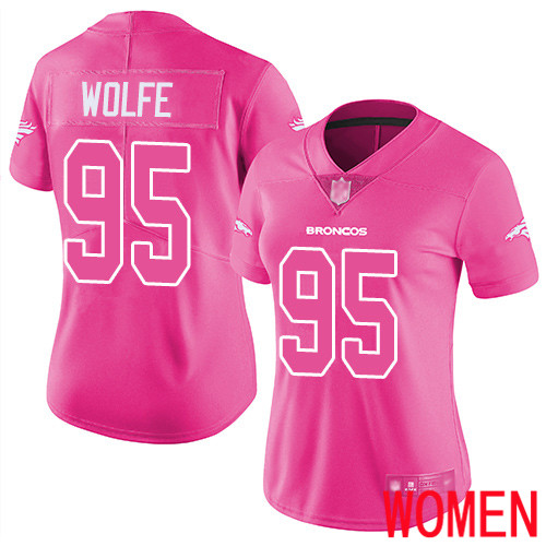 Women Denver Broncos 95 Derek Wolfe Limited Pink Rush Fashion Football NFL Jersey