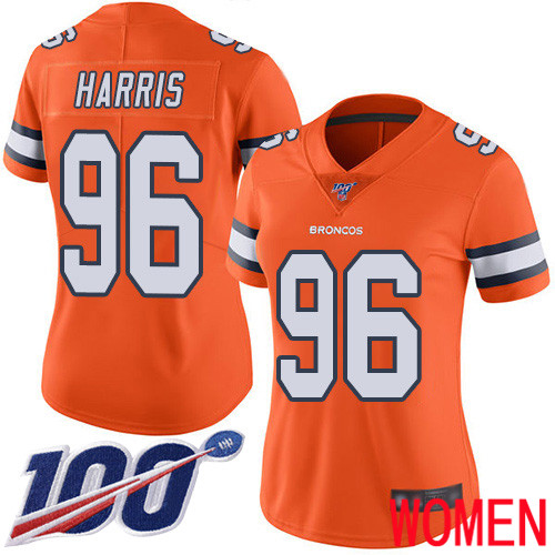 Women Denver Broncos 96 Shelby Harris Limited Orange Rush Vapor Untouchable 100th Season Football NFL Jersey