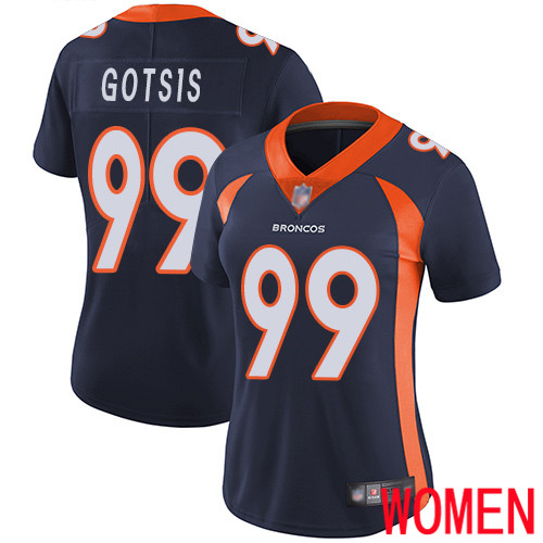 Women Denver Broncos 99 Adam Gotsis Navy Blue Alternate Vapor Untouchable Limited Player Football NFL Jersey