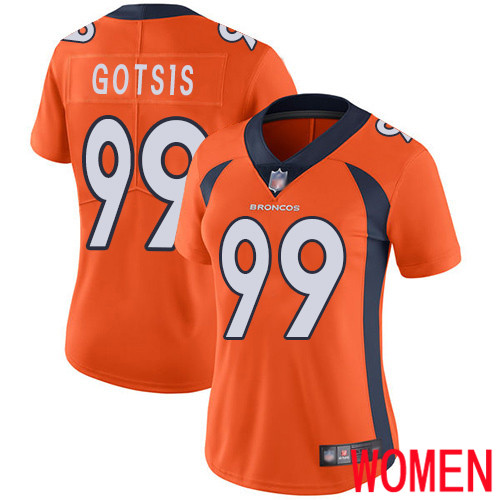 Women Denver Broncos 99 Adam Gotsis Orange Team Color Vapor Untouchable Limited Player Football NFL Jersey