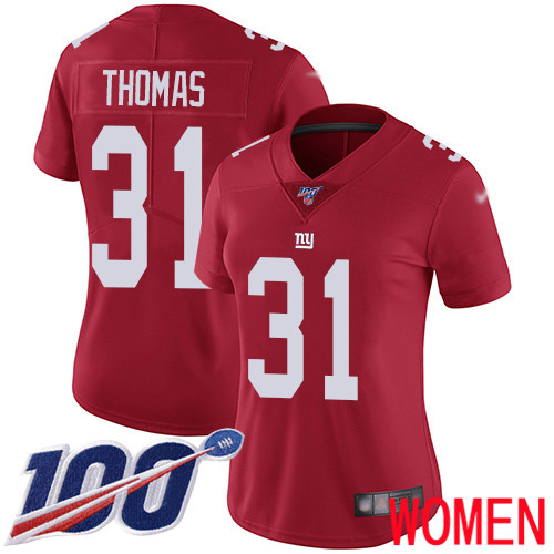 Women New York Giants 31 Michael Thomas Red Limited Red Inverted Legend 100th Season Football NFL Jersey