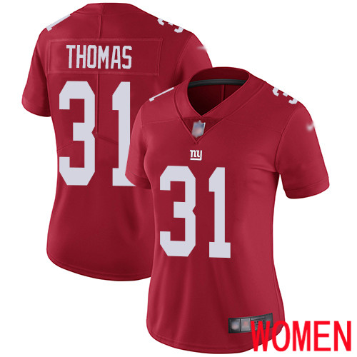 Women New York Giants 31 Michael Thomas Red Limited Red Inverted Legend Football NFL Jersey