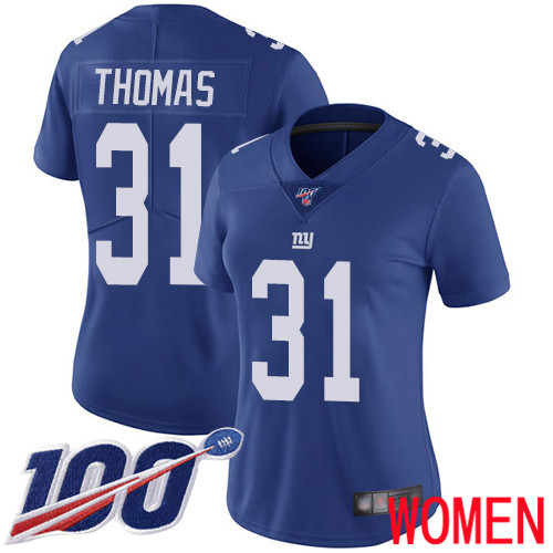 Women New York Giants 31 Michael Thomas Royal Blue Team Color Vapor Untouchable Limited Player 100th Season Football NFL Jersey