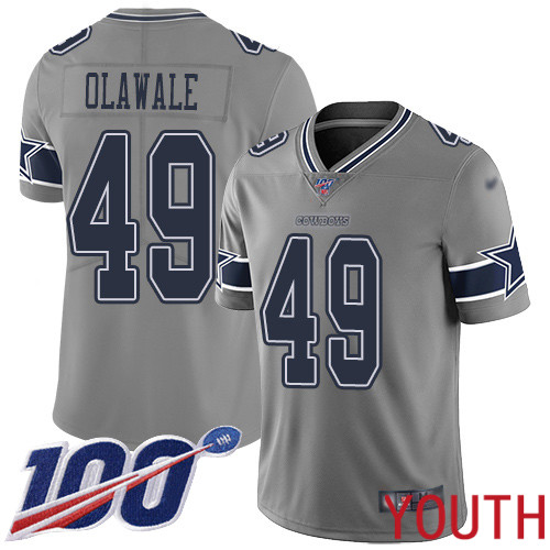 Youth Dallas Cowboys Limited Gray Jamize Olawale 49 100th Season Inverted Legend NFL Jersey
