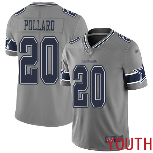 Youth Dallas Cowboys Limited Gray Tony Pollard 20 Inverted Legend NFL Jersey