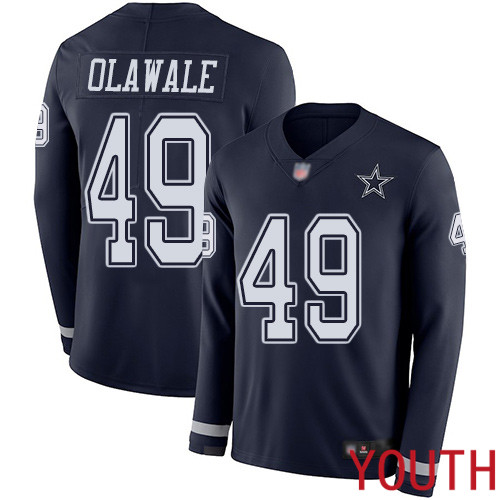 Youth Dallas Cowboys Limited Navy Blue Jamize Olawale 49 Therma Long Sleeve NFL Jersey