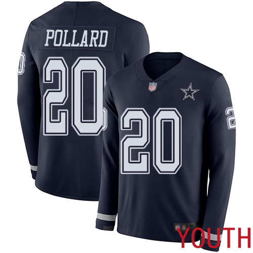 Youth Dallas Cowboys Limited Navy Blue Tony Pollard 20 Therma Long Sleeve NFL Jersey