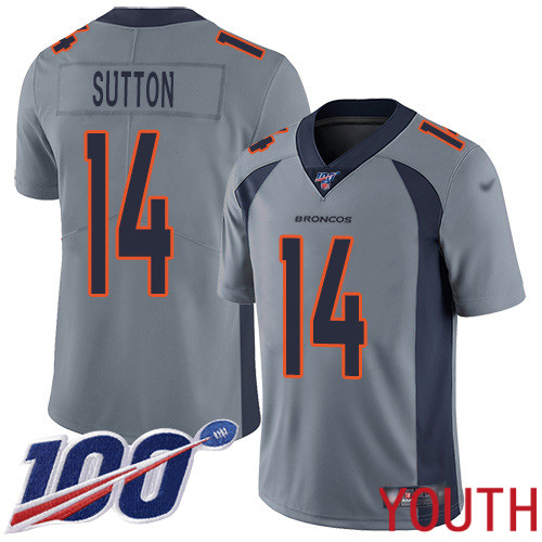 Wholesale Youth Denver Broncos 14 Courtland Sutton Limited Silver Inverted Legend 100th Season Football NFL Jersey