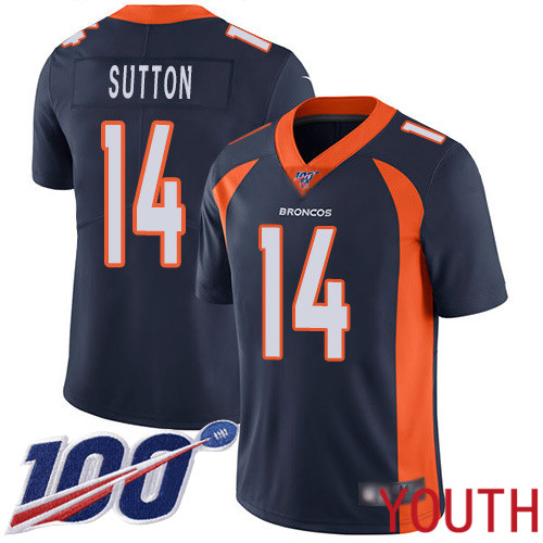 Wholesale Youth Denver Broncos 14 Courtland Sutton Navy Blue Alternate Vapor Untouchable Limited Player 100th Season Football NFL Jersey