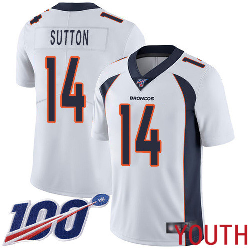 Wholesale Youth Denver Broncos 14 Courtland Sutton White Vapor Untouchable Limited Player 100th Season Football NFL Jersey