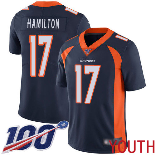 Youth Denver Broncos 17 DaeSean Hamilton Navy Blue Alternate Vapor Untouchable Limited Player 100th Season Football NFL Jersey