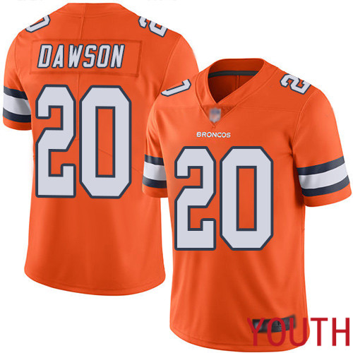Youth Denver Broncos 20 Duke Dawson Limited Orange Rush Vapor Untouchable Football NFL Jersey