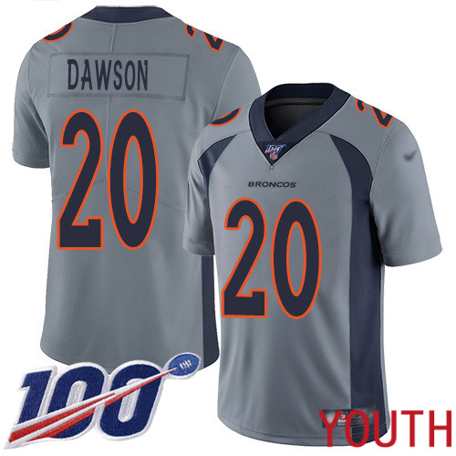 Youth Denver Broncos 20 Duke Dawson Limited Silver Inverted Legend 100th Season Football NFL Jersey