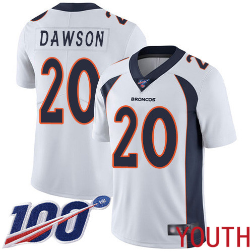 Youth Denver Broncos 20 Duke Dawson White Vapor Untouchable Limited Player 100th Season Football NFL Jersey