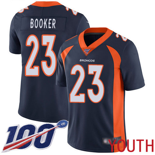 Youth Denver Broncos 23 Devontae Booker Navy Blue Alternate Vapor Untouchable Limited Player 100th Season Football NFL Jersey