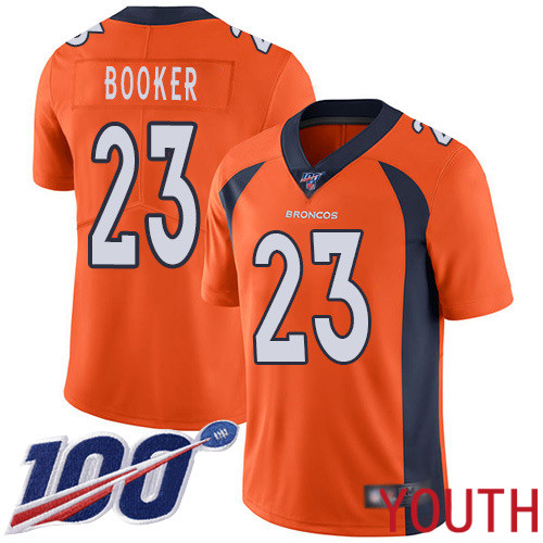 Youth Denver Broncos 23 Devontae Booker Orange Team Color Vapor Untouchable Limited Player 100th Season Football NFL Jersey