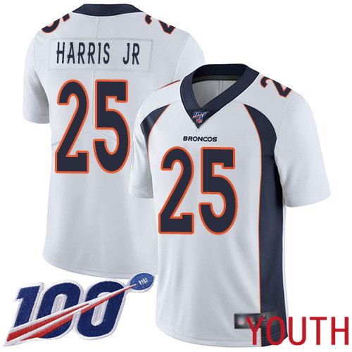 Youth Denver Broncos 25 Chris Harris Jr White Vapor Untouchable Limited Player 100th Season Football NFL Jersey