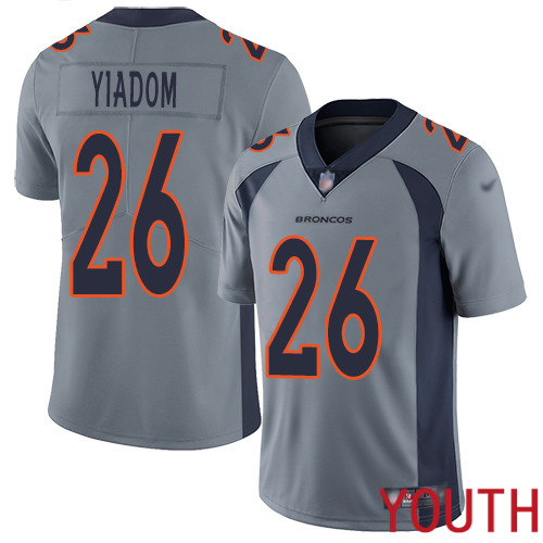 Youth Denver Broncos 26 Isaac Yiadom Limited Silver Inverted Legend Football NFL Jersey