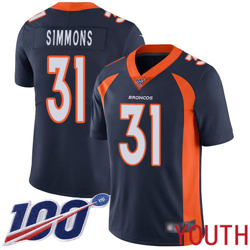 Youth Denver Broncos 31 Justin Simmons Navy Blue Alternate Vapor Untouchable Limited Player 100th Season Football NFL Jersey