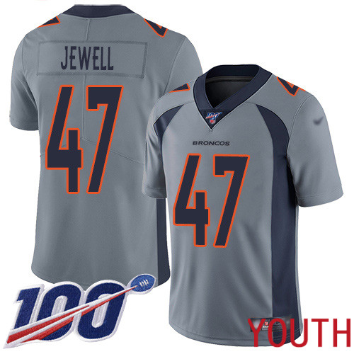 Youth Denver Broncos 47 Josey Jewell Limited Silver Inverted Legend 100th Season Football NFL Jersey