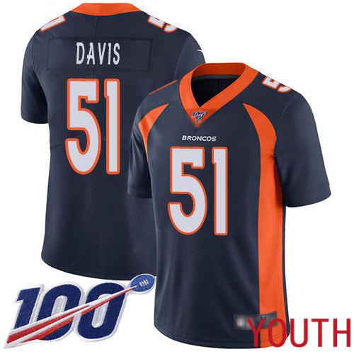 Youth Denver Broncos 51 Todd Davis Navy Blue Alternate Vapor Untouchable Limited Player 100th Season Football NFL Jersey