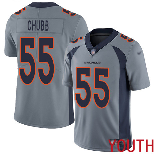 Youth Denver Broncos 55 Bradley Chubb Limited Silver Inverted Legend Football NFL Jersey