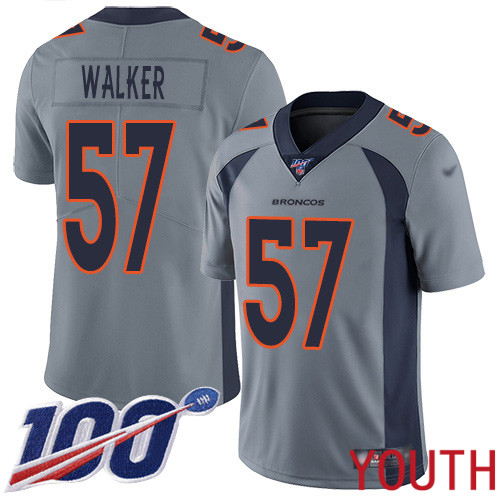 Youth Denver Broncos 57 Demarcus Walker Limited Silver Inverted Legend 100th Season Football NFL Jersey
