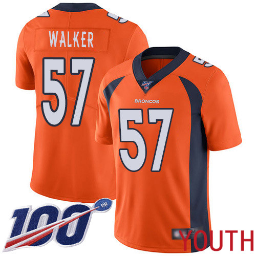 Youth Denver Broncos 57 Demarcus Walker Orange Team Color Vapor Untouchable Limited Player 100th Season Football NFL Jersey