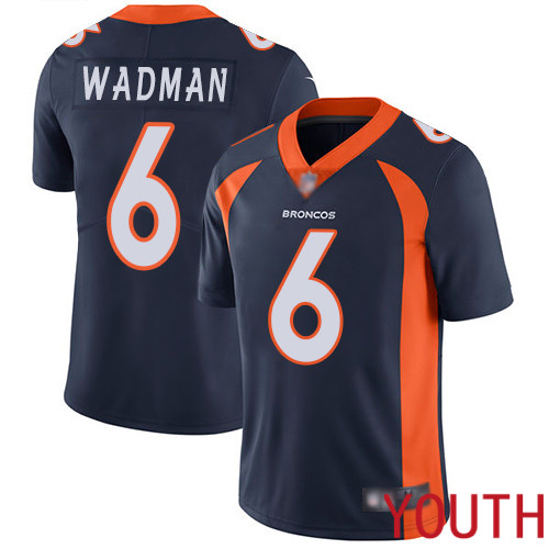 Youth Denver Broncos 6 Colby Wadman Navy Blue Alternate Vapor Untouchable Limited Player Football NFL Jersey