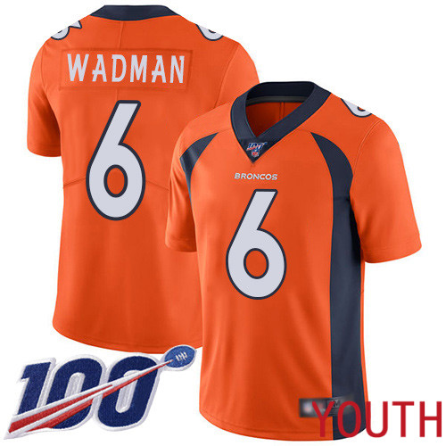 Youth Denver Broncos 6 Colby Wadman Orange Team Color Vapor Untouchable Limited Player 100th Season Football NFL Jersey