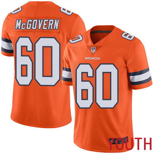Youth Denver Broncos 60 Connor McGovern Limited Orange Rush Vapor Untouchable Football NFL Jersey