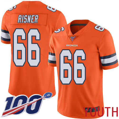 Youth Denver Broncos 66 Dalton Risner Limited Orange Rush Vapor Untouchable 100th Season Football NFL Jersey