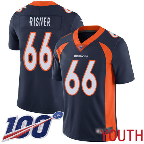 Youth Denver Broncos 66 Dalton Risner Navy Blue Alternate Vapor Untouchable Limited Player 100th Season Football NFL Jersey