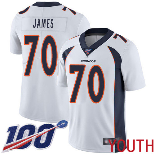 Youth Denver Broncos 70 Ja Wuan James White Vapor Untouchable Limited Player 100th Season Football NFL Jersey